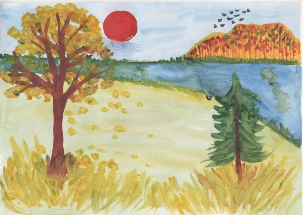 рисунок здравствуй осень члены его стаи